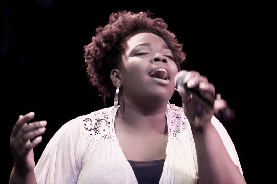Kymberli Joye Rush performing at Berklee's Gospel Concert