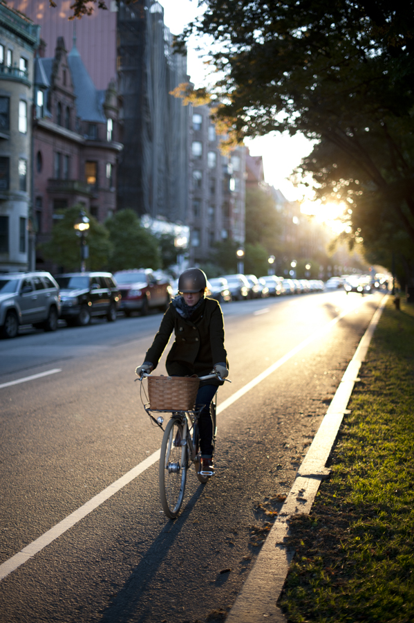 Biker on Comm Ave at sunset