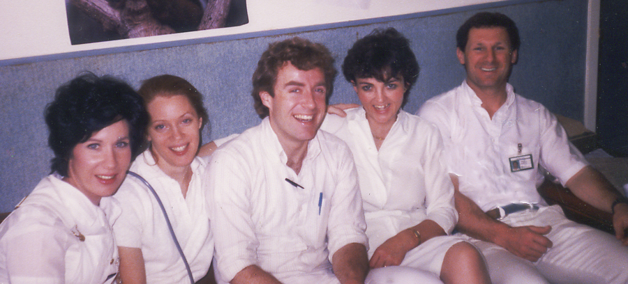 Mary, Patrice, Dennis, Nuala, and me, the nurses on the pediatric unit at Spaulding Rehab 1986