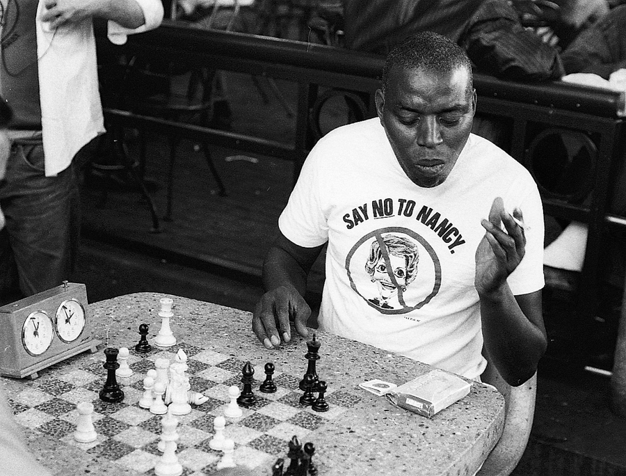 chess player in Harvard Square, from back in the Reagan days