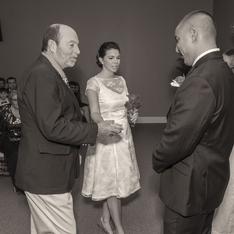 Dad giving away the bride