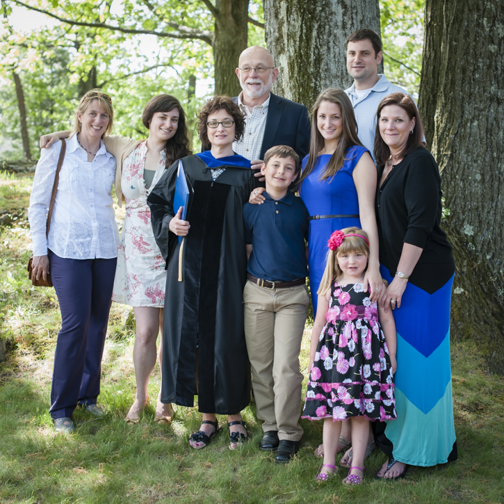 I remember Susan Feinman Houghton getting her doctorate from Brandeis, here with her family.