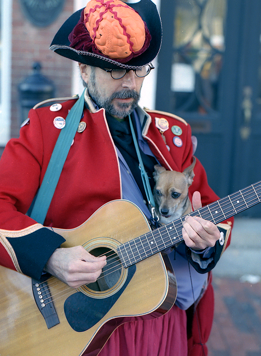 guitar player w dog