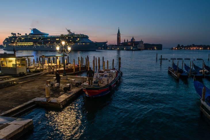 cruise ship heading into Venice