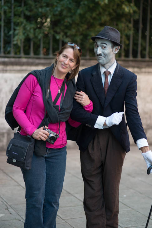 Debbie with street performer