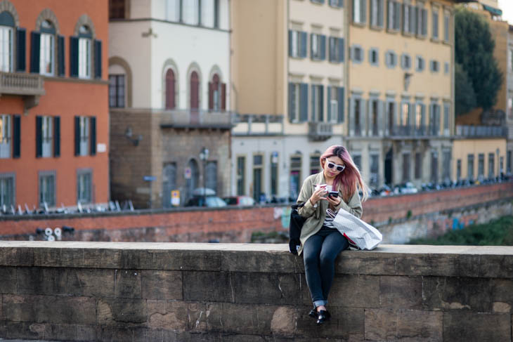 on a bridge in Florence