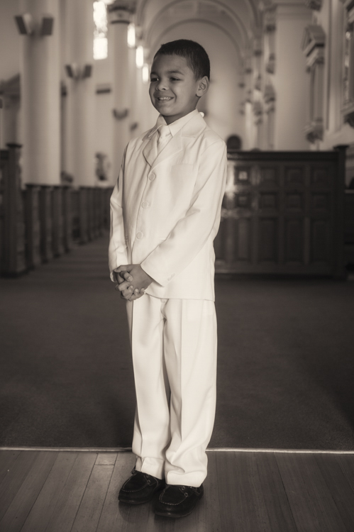 I remember...Braydenn in his first communion whites!