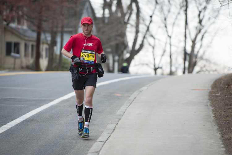 runner heading from Boston to Hopkinton at 8:30 am to run the course twice.