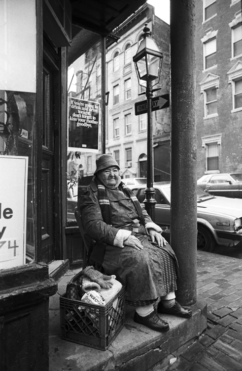 "a throwback from 1988. lillian mcgillicuddy on beacon hill. the sign behind her says, ""If you're going to drink and drive tonight don't forget to kiss your mother goodbye."""